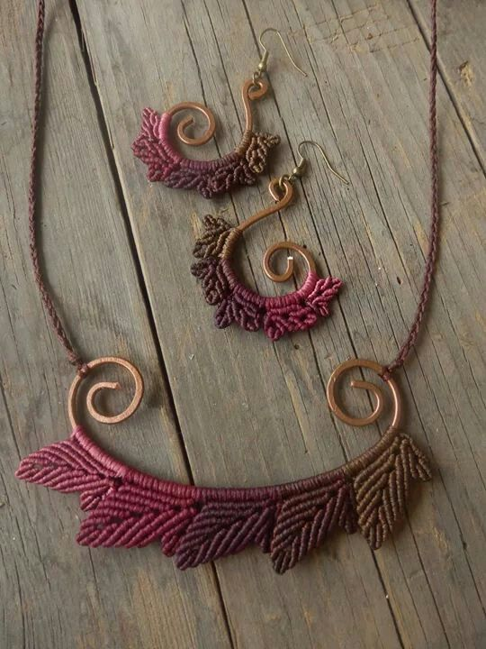 Macrame worked on shaped wire. More wire crochet earrings at my shop http://www.yooladesign.com/collections/wire-crochet-jewelry