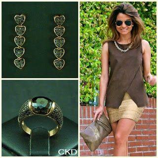Brincos e anel com microcravação de zircônias negras, lançamentos da nova coleção!! www.ckdsemijoias.com.br