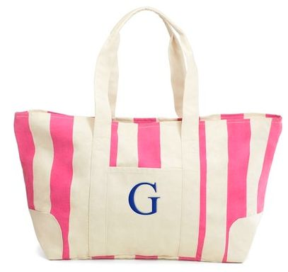 Monogram Stripe Canvas Tote