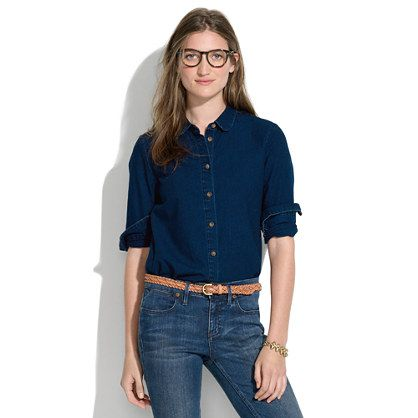 Indigo denim collared shirt a very merry sale women 39 s for Indigo denim shirt womens
