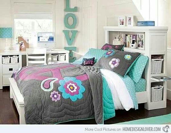 Habitación para una adolescentes en tonos gris y turquesa ...