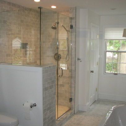 Half wall glass shower google search bathrooms for Half wall shower glass