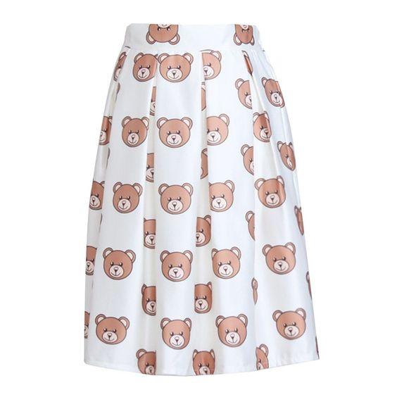 Lovely Bear Printed Full Pleated High Waist Hem Women OL Style MIDI Skirts | eBay