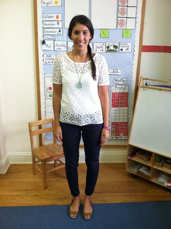 white lace top with pants and camel shoes I like her daily calendar in the background also