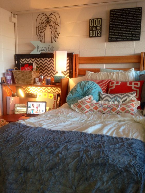 Dorm color schemes, Dorm colors and Orange bedding on