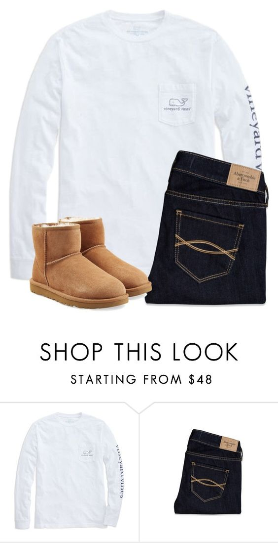 """Studying my 40 elements and symbols"" by laxsoccerlover36 ❤ liked on Polyvore featuring Vineyard Vines, Abercrombie & Fitch, UGG Australia, women's clothing, women, female, woman, misses and juniors"