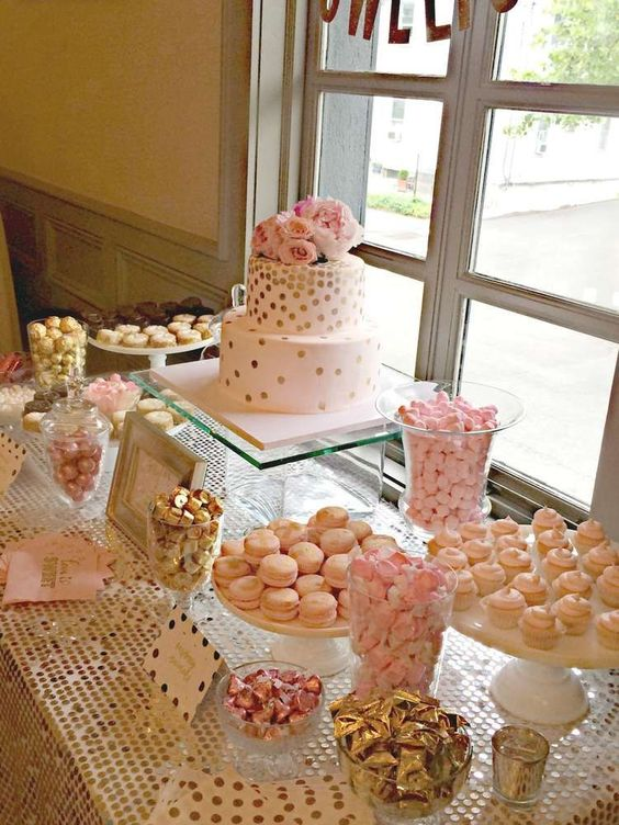 Gorgeous sweets table at a pink and gold bridal shower party! See more party planning ideas at CatchMyParty.com!: