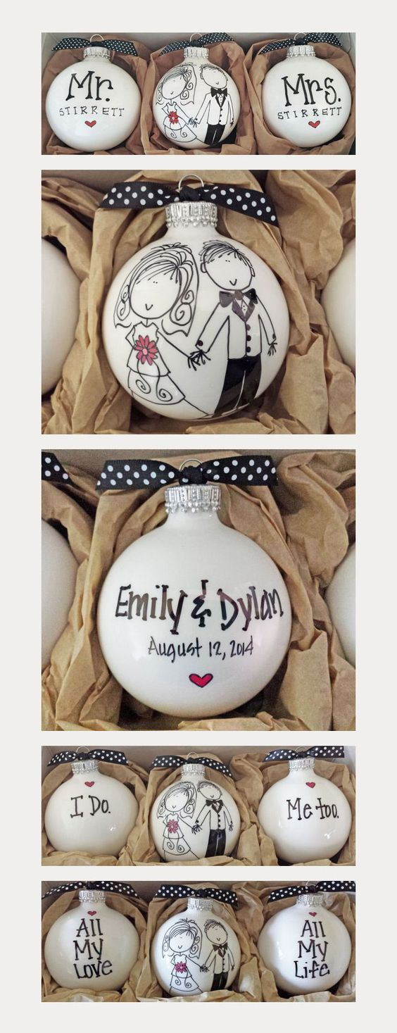 love all the options of these custom wedding ornaments