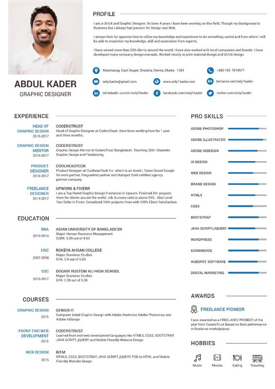 Pin by Abdul Kader on Graphic Designer Resume Pinterest
