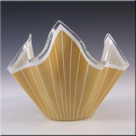 Chance Brothers Caramel Glass Cordon Handkerchief Vase - £13.49