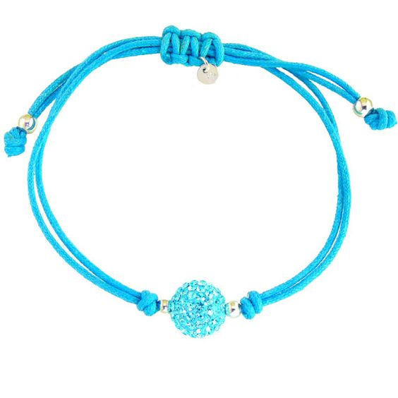 19462 10mm Blue or Pink Crystal Bead on Blue Nylon by SilverNStyle, $8.99