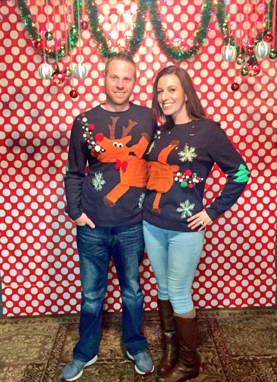 These are some of the best ugly couples Christmas sweater's I've seen!