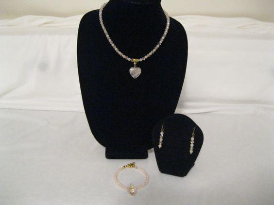 Rose Quartz gem stone Valinetine heart pendant by MDJewelCraft