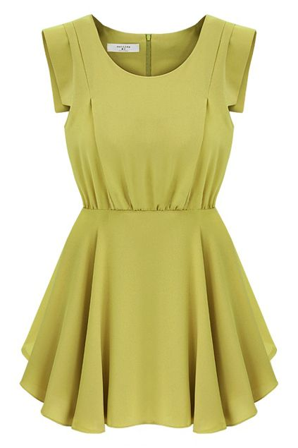 Interesting color to add to the closet! Retro Sleeveless Pleated Mustard Dress