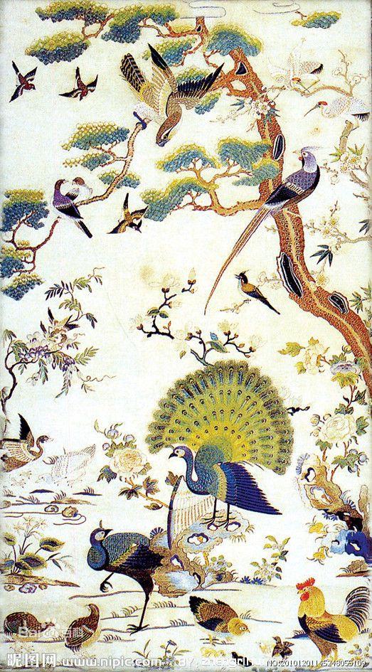 百鸟朝凤 Chinese Silk Scroll Painting Phoenix Home Office Decoration
