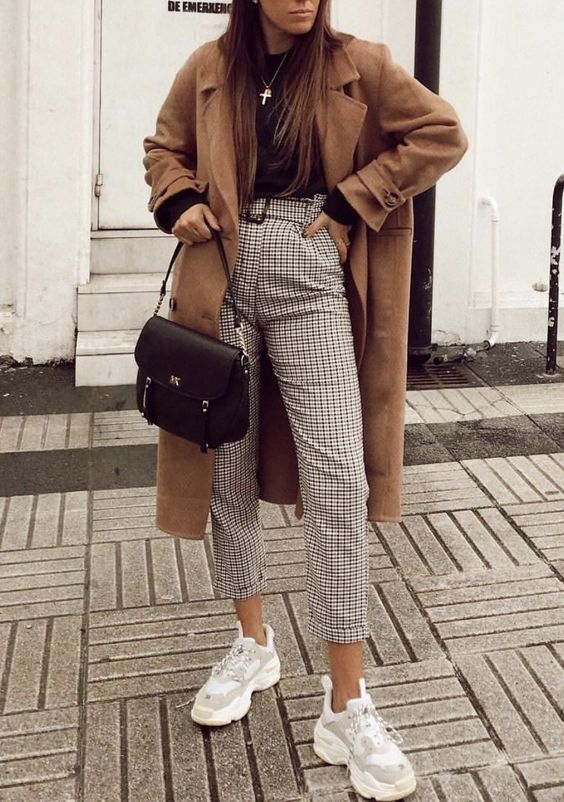 Plaid pants, chunky balenciaga sneakers and a camel coat. Perfect match. #outfitoftheday #outfitinspiration #styleinspiration #womensfashion #plaid #balenciaga pic by dorytrendy @ instagram