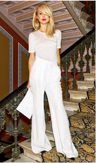 white on white... the key is fitted top, loose flowy pants... you must know your body, know your height♥
