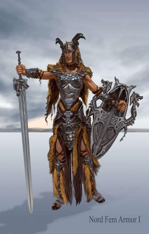 Skyrim Character Design Ideas : Nord armor female concept art from the elder scrolls v