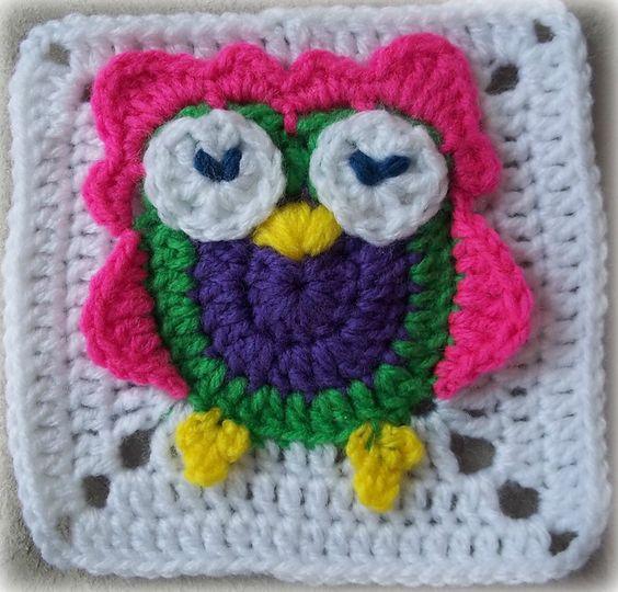 Ravelry: Zooty Owl Square pattern by zelna olivier