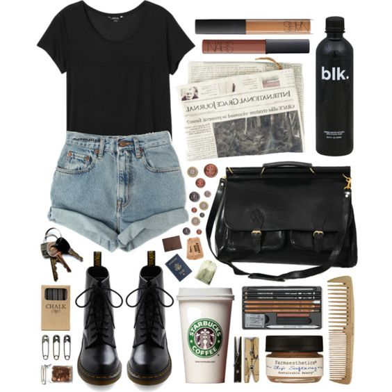 A fashion look from June 2013 featuring Monki t-shirts, Levi's shorts и Dr. Martens boots. Browse and shop related looks.