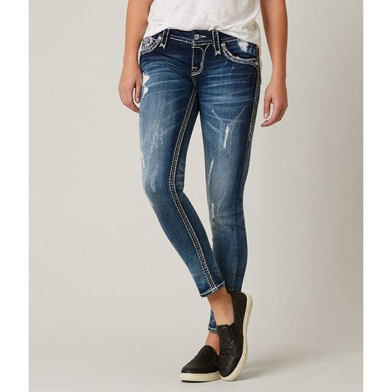 Rock Revival Sundee Ankle Skinny Stretch Jean ($169) ❤ liked on Polyvore featuring jeans, blue, destroyed skinny jeans, stretchy skinny jeans, destructed skinny jeans, distressed jeans and rock revival skinny jeans