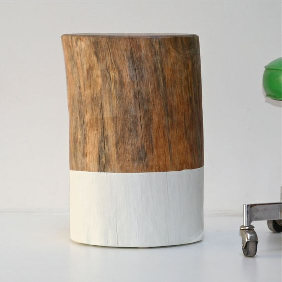 Reclaimed Wood Stump Coffee Table: Reclaimed Wood Tree Stump Coffee End Side Table Stool