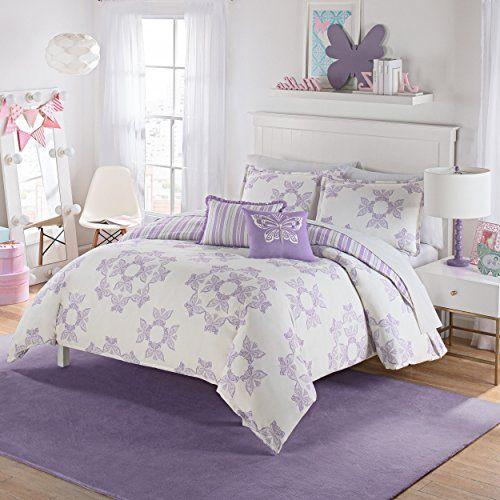 D A 2 Piece Girls White Grey Light Purple Butterflies Themed