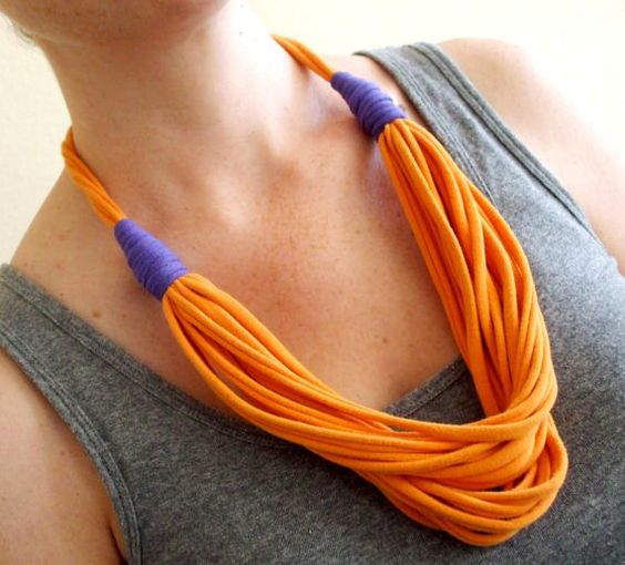 Orange and Purple Fabric Necklace - Adjustable Length - Eco Friendly by Urban Creatures on Etsy $25.00 PDX Etsy