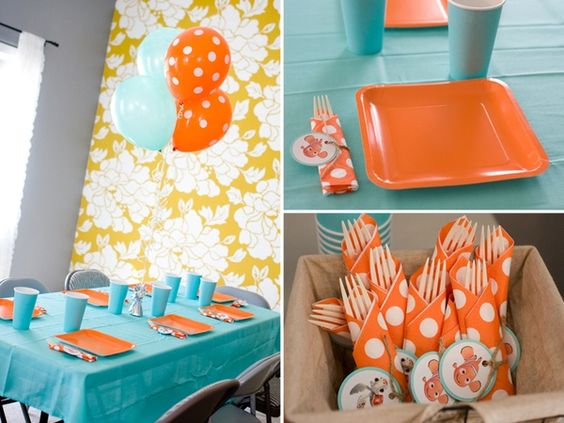 ideas colors party tables simple finding nemo table decorations party