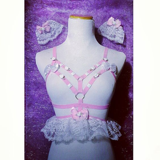 Lacey Lolita Harness Wrist Cuffs Baby Pink Set by SweetSweetLust, $55.00