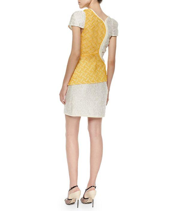 Freeform Woven & Crinkled Satin Top, Ivory/Cream/Yellow
