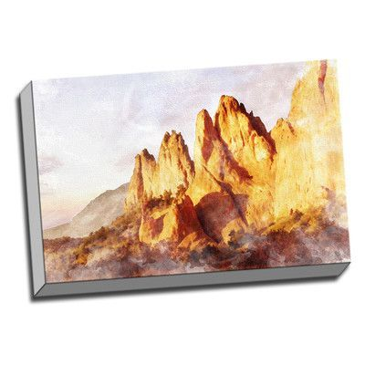 Picture it on Canvas Faux Watercolor Rock Formation Colorful Painting Print on Wrapped Canvas