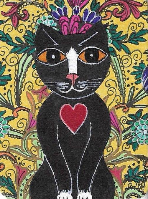 2x2 DOLLHOUSE MINIATURE PRINT OF PAINTING RYTA 1:12 SCALE HALLOWEEN BLACK CAT
