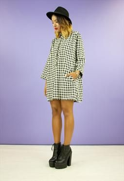 NEW Cotton Black and White Gingham Pocket Dress $64
