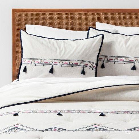 White Embroidered Tassel Comforter Set Twin Twin Xl Opalhouse Target Comforter Sets College Bedding Sets Bedding Sets Grey
