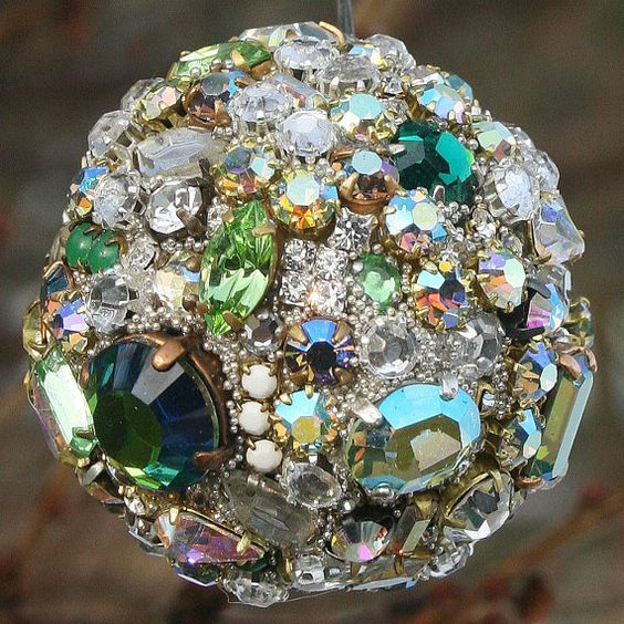 Vintage rhinestones ball orb sphere ornament clear for Rhinestone jewels for crafts