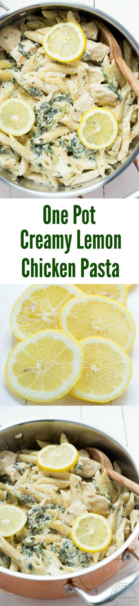 One Pot Creamy Lemon Chicken Pasta with Baby Kale Recipe | Spoonful of Flavor - The Best Easy One Pot Family Dinner Recipes #onepot #onepotmeals #onepotrecipes #onepotchicken #lemonchickenpasta