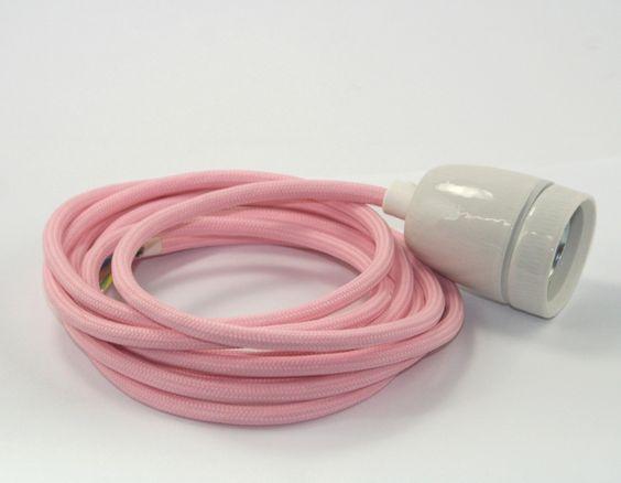 Textilkabel-pink-Porzellanfassung