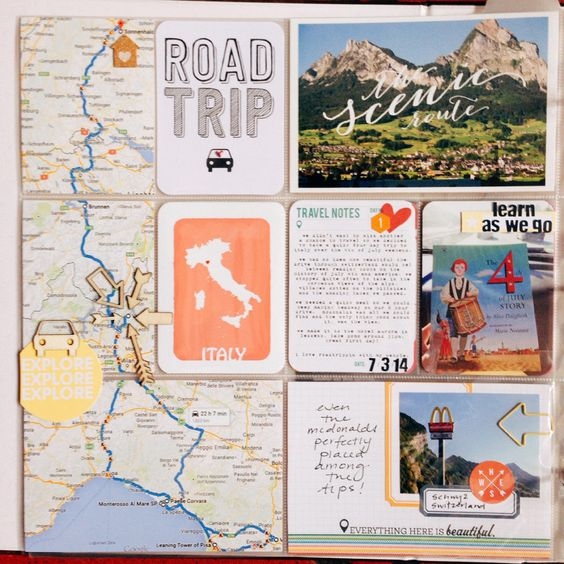 """Italy RoadTrip - Day 1 by amylard at @studio_calico"" This would be a great idea for any long distance trip. #projectlife #vacation"