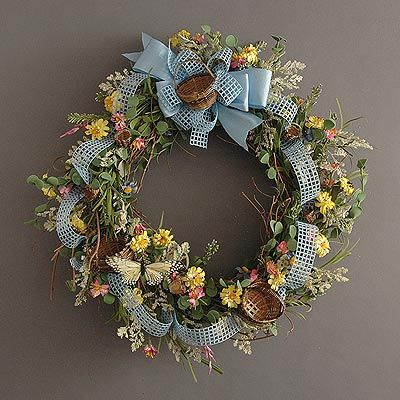 spring easter wreath..little baskets
