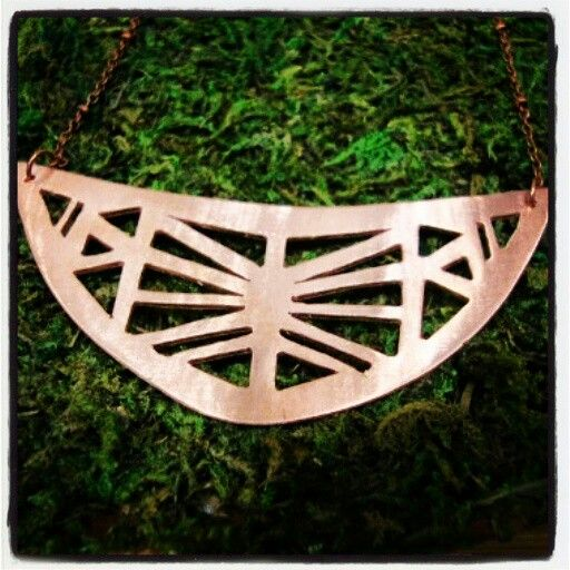 Hand sawed copper necklace