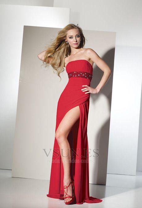 Vestido+de+fiesta+Abertura+en+el+muslo+Corte+Recto+Cinturón+de+cuentas