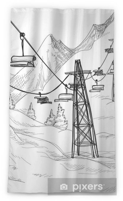 Mountain Ski Lift Chairs Pencil Drawing Sheer Window Curtain Pixers We Live To Change In 2020 Ski Lift Chair Pencil Drawings Ski Lift