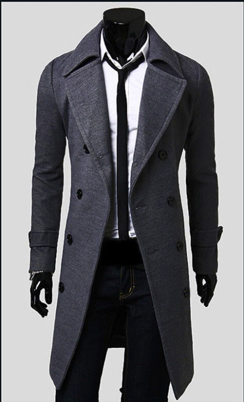 Hot Men's Trench Coat Winter Mens Long Double Breasted Jacket Warm ...