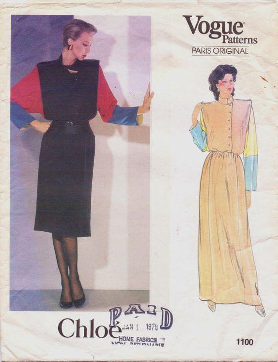 Vintage 80s Vogue Paris Original Pattern 1100 Chloe by CloesCloset, $26.00