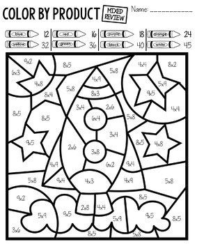 Color By Number Space Multiplication Facts Practice Math Coloring Worksheets Multiplication Facts Practice Multiplication