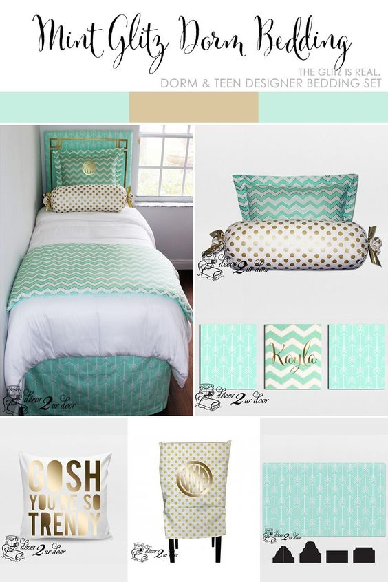Mint Glitz Designer Bed In A Bag Set College Dorm