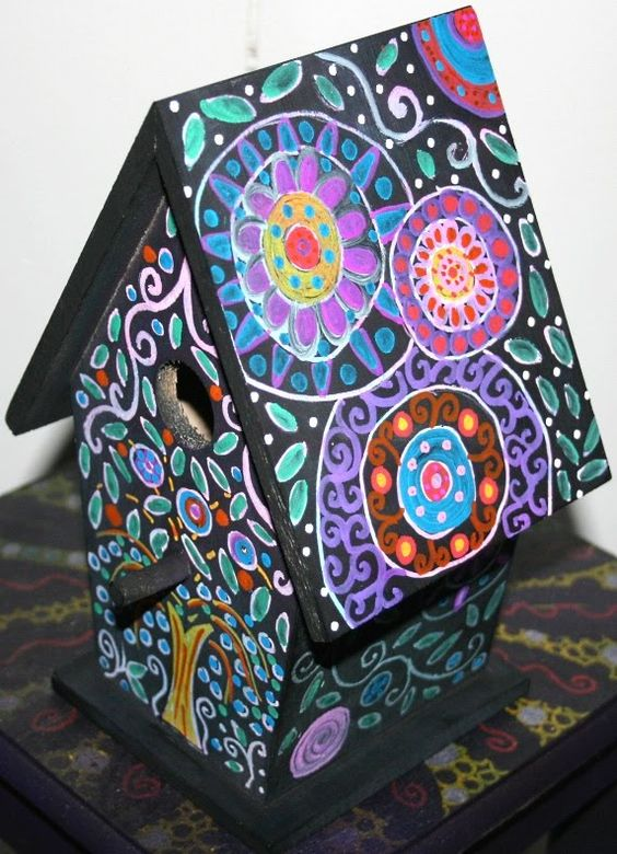 Funky home decor hand painted birdhouses boxes for Funky home decor
