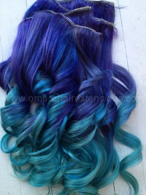 Something to be said about this color combination...WOAH!  The quality of this color is AH-mazing. Purple with a slow fade to THE most beautiful blue ever.    Indian Remy human hair, hand drawn and double wefted.     We use only Professional methods and materials. Our extensions are AAA quality a...