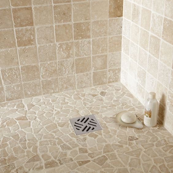 Travertin int rieur travertin ivoire 10 x 10 cm leroy for Carrelage douche leroy merlin